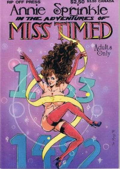 Annie Sprinkled in the Adventures of Miss Timed comic books