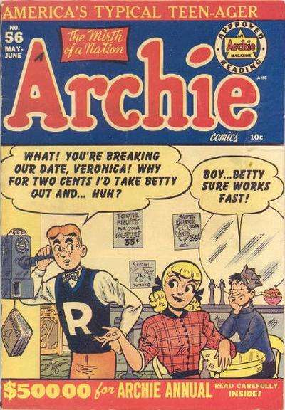 Archie Comics #56 Comic Books - Covers, Scans, Photos  in Archie Comics Comic Books - Covers, Scans, Gallery