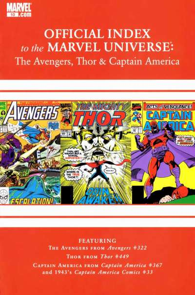 Avengers Thor & Captain America: Official Index to the Marvel Universe #10 comic books for sale