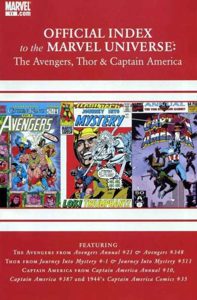 Avengers Thor & Captain America: Official Index to the Marvel Universe #11 comic books for sale