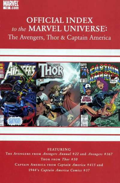Avengers Thor & Captain America: Official Index to the Marvel Universe #12 comic books for sale