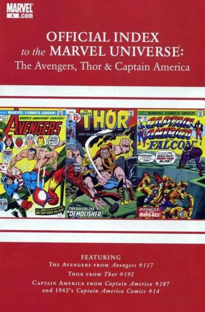 Avengers Thor & Captain America: Official Index to the Marvel Universe #4 comic books for sale