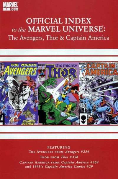 Avengers Thor & Captain America: Official Index to the Marvel Universe #8 comic books for sale