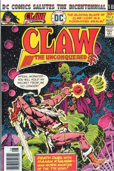 Claw the Unconquered #8 comic books - cover scans photos Claw the Unconquered #8 comic books - covers, picture gallery
