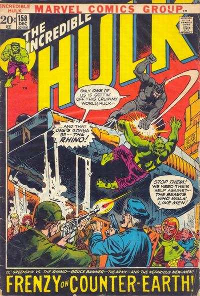 Incredible Hulk #158 comic books - cover scans photos Incredible Hulk #158 comic books - covers, picture gallery