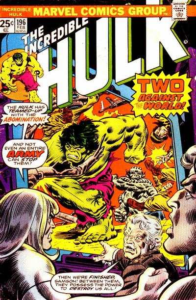 Incredible Hulk #196 comic books - cover scans photos Incredible Hulk #196 comic books - covers, picture gallery